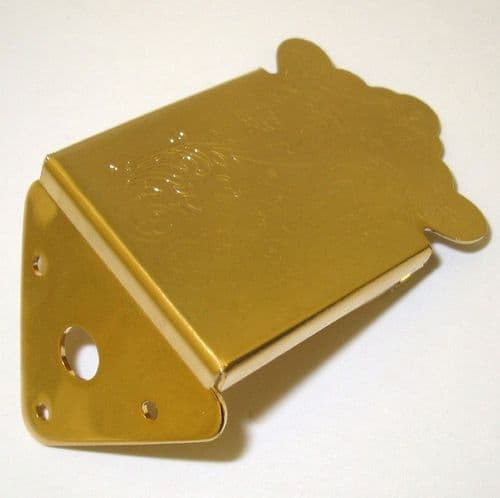 Mandolin Tailpiece-Engraved  cover plate, gold,  3 screw fixing.