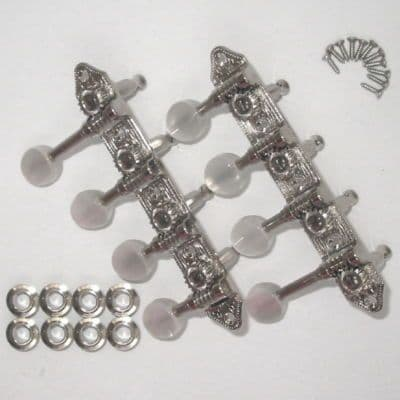 Schaller  Mandolin, Madolin  Banjo Tuners- Gibson style F, engraved nickel plated, pearloid buttons.