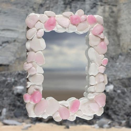 Coastal Pebble Mirror – Pink Onyx