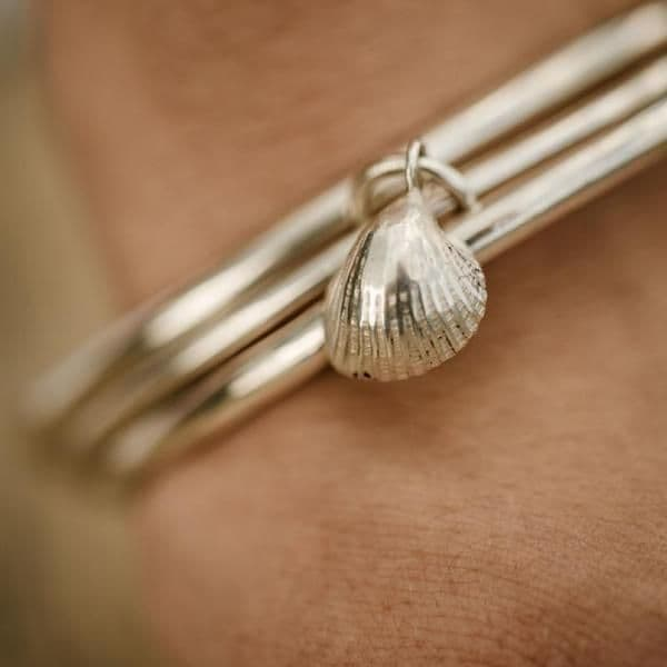 Cockle Shell Bangle Bracelet | Silver Shells | Sarah Adams