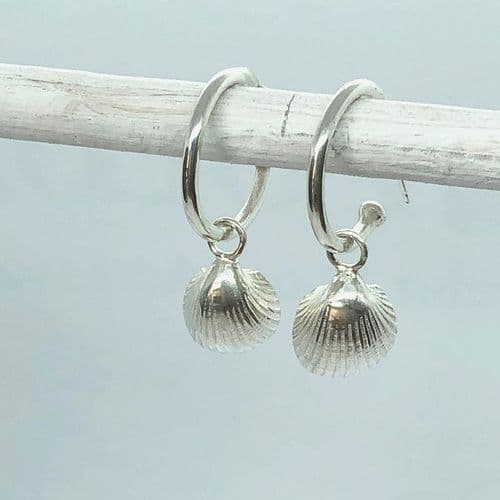 Cockle Shell Charm Hoop Earrings