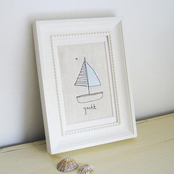 Embroidered Yacht Picture | Stitched Picture | Charlotte Macey