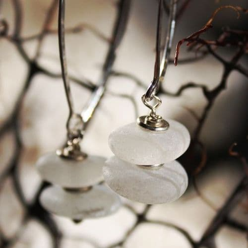 Foam White Beach Glass Earrings
