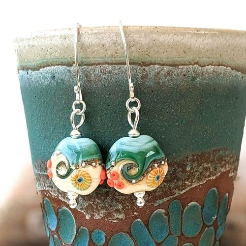 Glass Lampwork Earrings – sand & sea