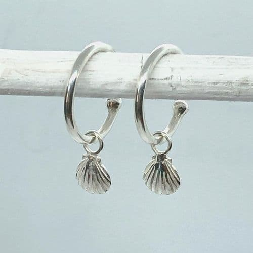 Little Shell Charm Hoop Earrings