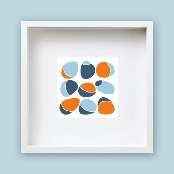 Pebbles Orange Framed Print | Jo Thearle