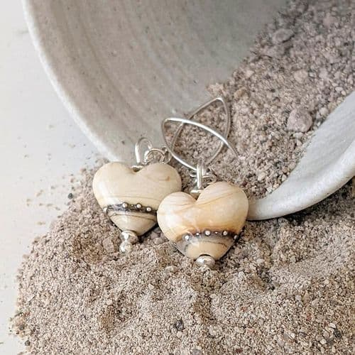 Sand Heart Earrings