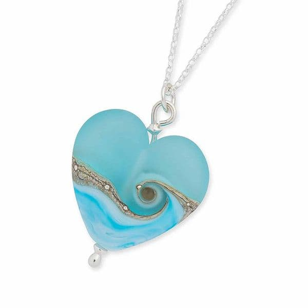 Sea Breeze Heart Necklace | Glass Pendant | Julie Fountain