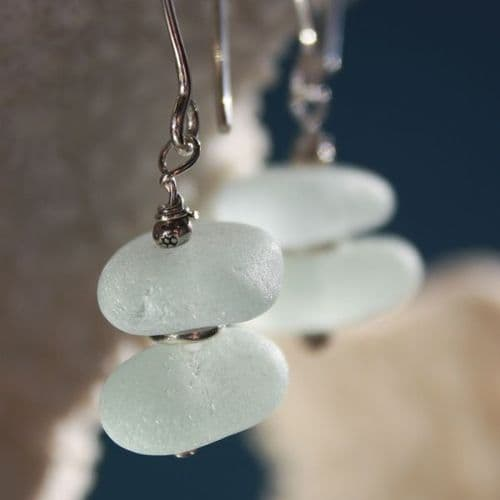Soft Blue Sea Glass Earrings