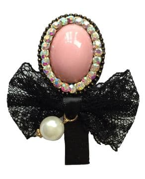 1. AL0020 -  Pink stone with black bow lace hair slide