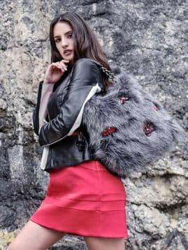 1. Alex Max 1812 Morden Faux Fur Bags - Grey - Florence, Italian