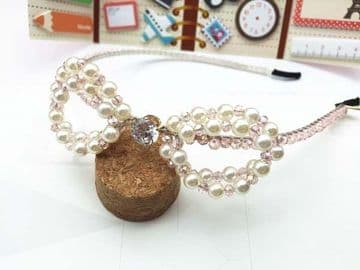 1. AY010010a  - Beautiful shimmering Light pink crystal headband with pearl bow