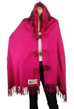 1. CD720 fuchsia elegant wool winter wrap with a Luxurious thick coordinating fox fur collar
