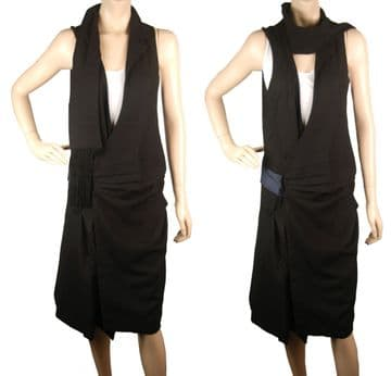 1. Con Mi Go CA100 unique artistic black wool dress
