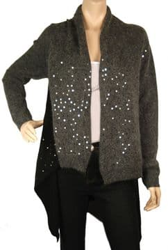 1. ConMiGo BS310 glamorous dark grey and black Angora Sequin Cardigan