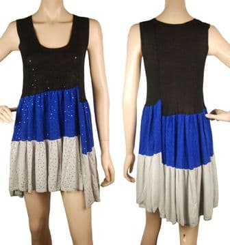 1. ConMiGo CC310 Glamorous Sleeveless Grey, Blue and Black Sequin Tunic/Mini Dress