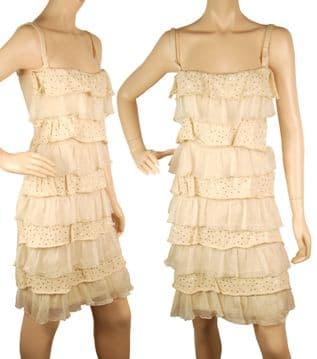 1. ConMiGo CC720 Glamorous ruffled mini dress - Beige