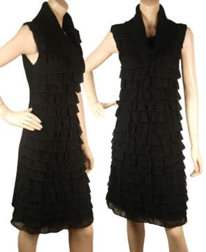 1. ConMiGo CC855 Glamorous Sleeveless Black Angora Sequin with Ruffles Silk Jumper Dress