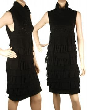 1. ConMiGo CC920 Glamorous Sleeveless Black Ruffles Angora Sequin Jumper Dress