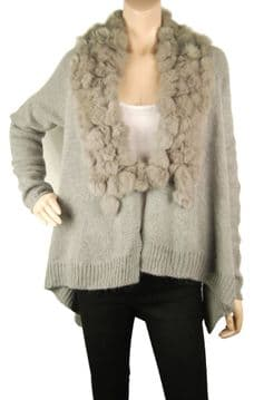 1. ConMiGo CD600 Glamorous Grey Angora Cardigan with Genuine Fur Pon Pon Collar