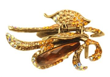 1. F60120 Colourful hairstyling crystal embellished sequined jaw hair clip - gold