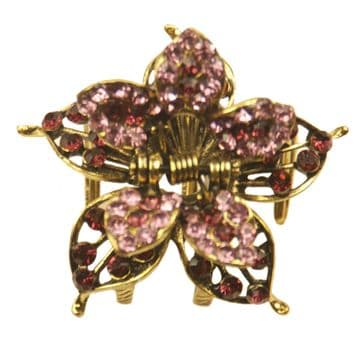 1. F88230 pink and purple flower hairstyling crystal embellished sequined jaw hair clip