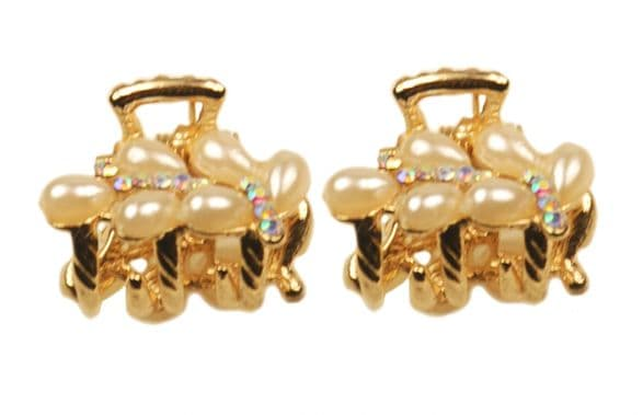 1. MiniB03 - two of mini size pearl and crystal embellished gold sequined jaw hair clip