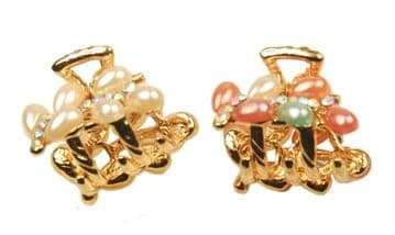 1. MiniB08 - two of mini size pearl and crystal embellished gold sequined jaw hair clip