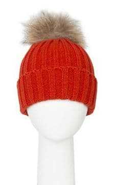 1. PIA ROSSINI SOPHIA Pom Pom HAT  - ORANGE