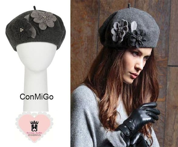 A Traditional Wool Felted Riding Cap with a Peak Laced with Band and Bow to Finish. PIA ROSSINI FIFI HAT  - SILVER GREY