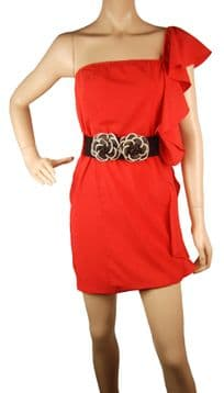 1.ConMiGo B50 unique designer one shoulder orange red mini fitted dress with flower belt