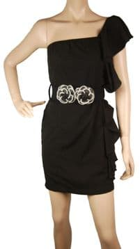 1.ConMiGo B55 unique designer one shoulder black mini fitted dress with flower belt