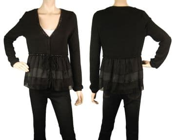 1.ConMiGo BS110 black fine wool,cotton and silk satin cardigan