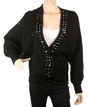 1.ConMiGo CD120 Long Sleeve Bead-embroidered Cardigan - Black