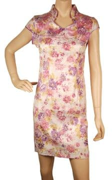 1.ConMiGo CH010 Traditional Cotton Mandarin Collar Mini Floral Pink Chinese Dress