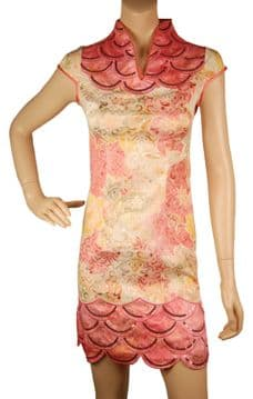 1.ConMiGo CH070 Traditional Cotton Mandarin Collar Mini Floral Chinese Dress - Hot Peach