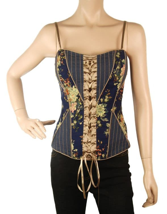 1.ConMiGo CRA110 Vintage Inspired Overbust with Angled Panels and Shoulder Straps Corset