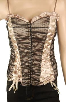 1.ConMiGo CRA140 Burlesque Jacquard Black and Cream Beige Corset