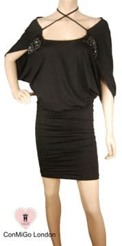 1.ConMiGo UC220 Black Stretch Jersey Dress