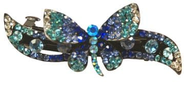 1.GC10320 blue and silver butterfly sequined crystal embelished on black hair clip