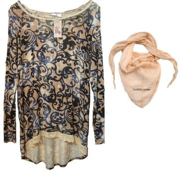 1a. Goose Island Floral Tunic with Free Scarf - Peach - Made in Italy