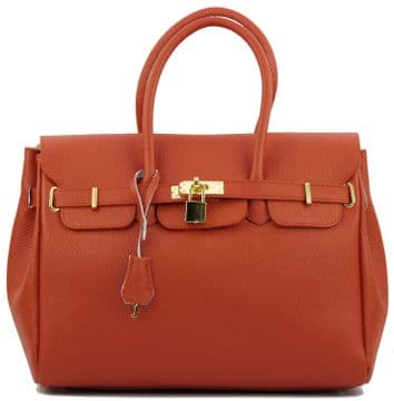 1a. Real Italian Leather - Brealleather 0012 -  Big Tangerine Real Leather Bag - Made in Florence, Italy.