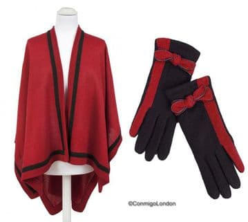 1b. PIA ROSSSINI AVA WRAP - RED/BLACK + KAYLA GLOVE - BLACK/RED ( 2 items )