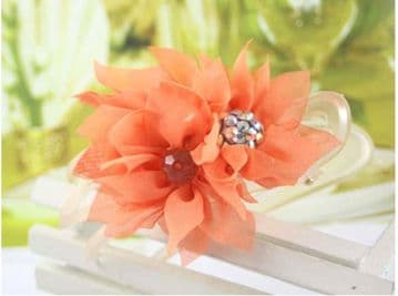 6110B1 - Fabric Jaw hair clip - Orange Peach