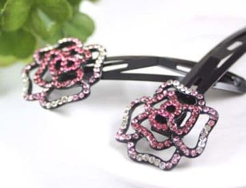 ACL1 -  Eye catching pink and silver sequin hair slids - 2 pieces