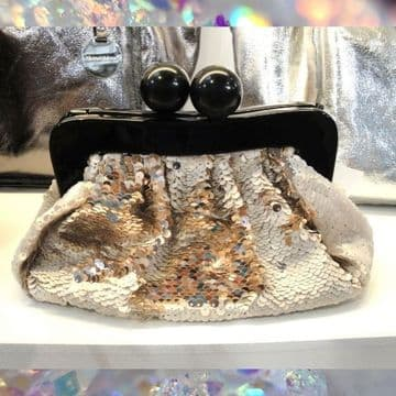 Alex Max Stylish Sequins Clutch Party Bags - Gold -  From Florence, Italy