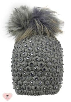 Alex Max unique designer embellished Fur Pon Pon Hat - Grey - Design From Florence, Italy