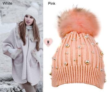 Alex Max unique designer pearls embellished Fur Pon Pon Hat - Pink - From Florence, Italy