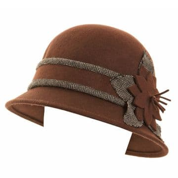 ANTHONY GRAHAM  E29A - Brown -  LADIES CLOCHE WITH TWEED TRIM