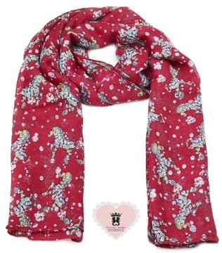ASA92162 Red horse print long scarf